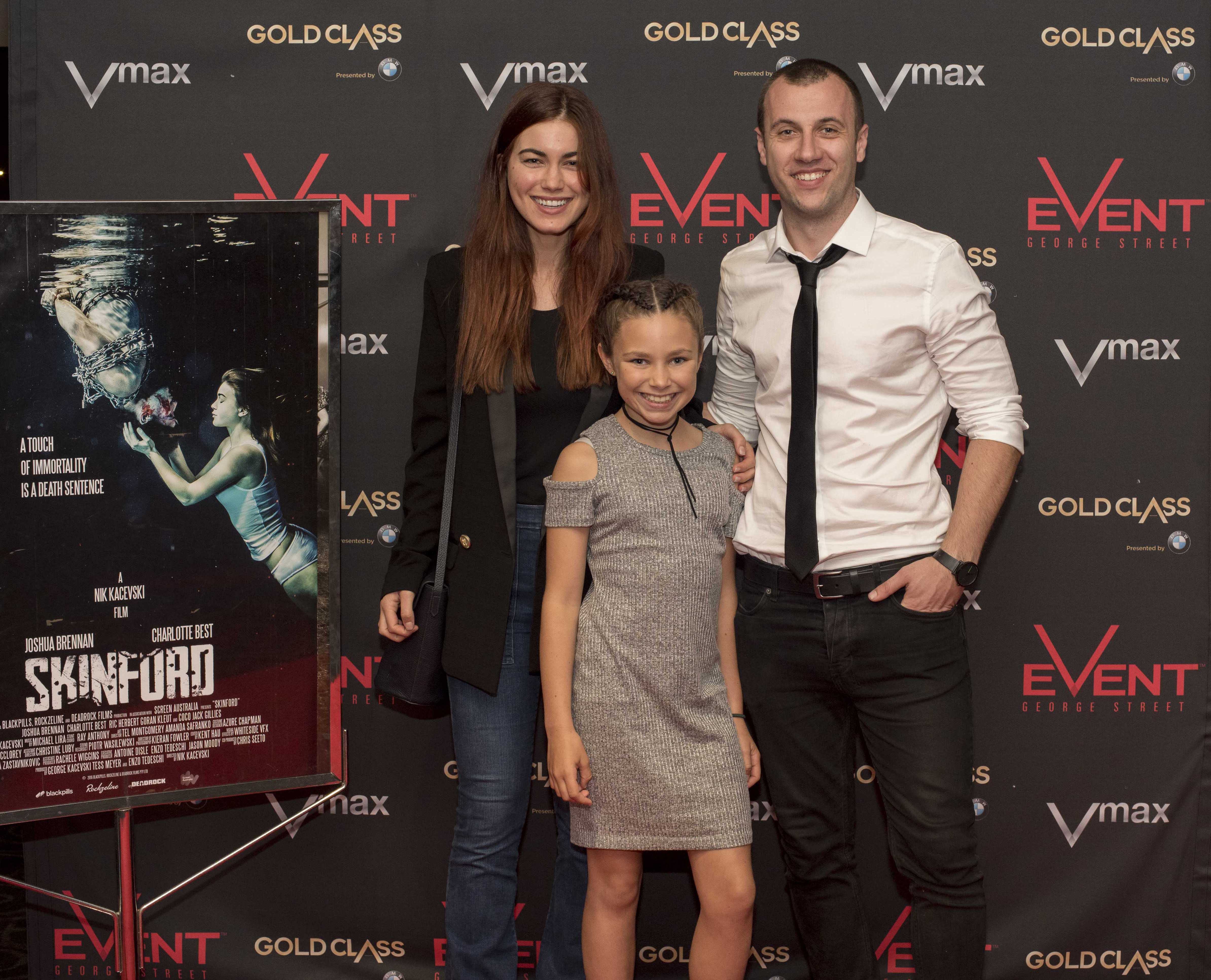 Skinford cast and crew screening, Sydney. (L to R) Charlotte Best, Coco Jack Gillies and Nik Kacevski.