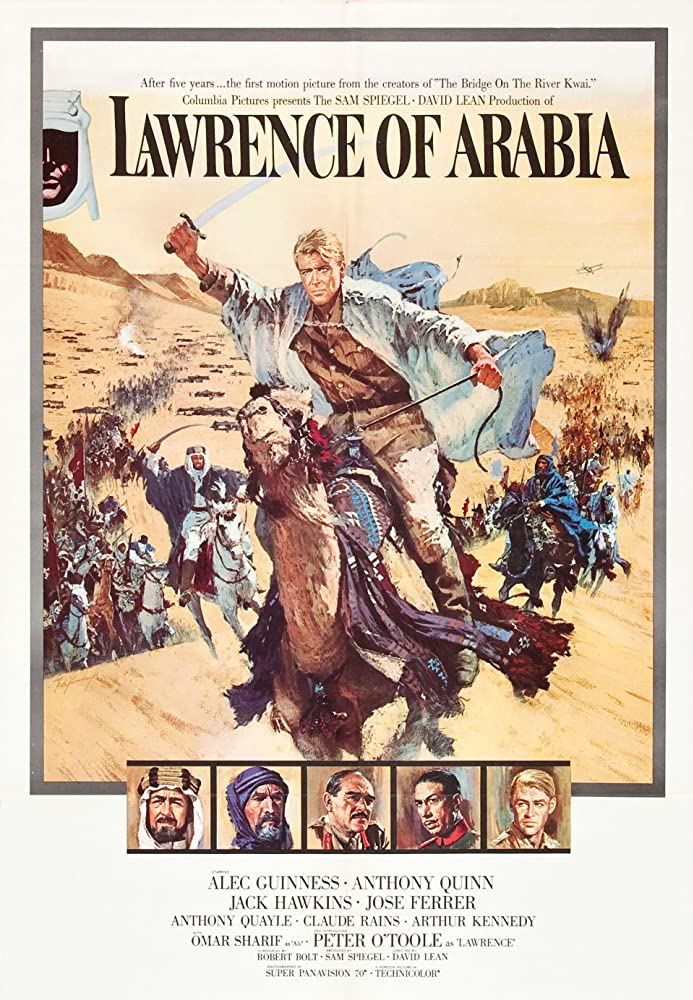 Alec Guinness, Anthony Quinn, Peter O'Toole, José Ferrer, and Jack Hawkins in Lawrence of Arabia (1962)