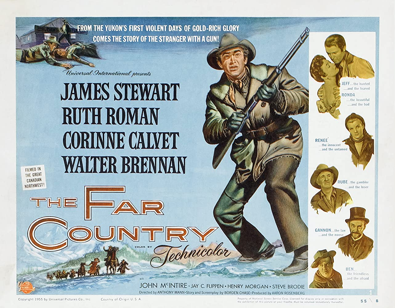 James Stewart, Walter Brennan, Corinne Calvet, Jay C. Flippen, John McIntire, and Ruth Roman in The Far Country (1954)