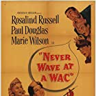 Leif Erickson, Paul Douglas, William Ching, Rosalind Russell, and Marie Wilson in Never Wave at a WAC (1953)