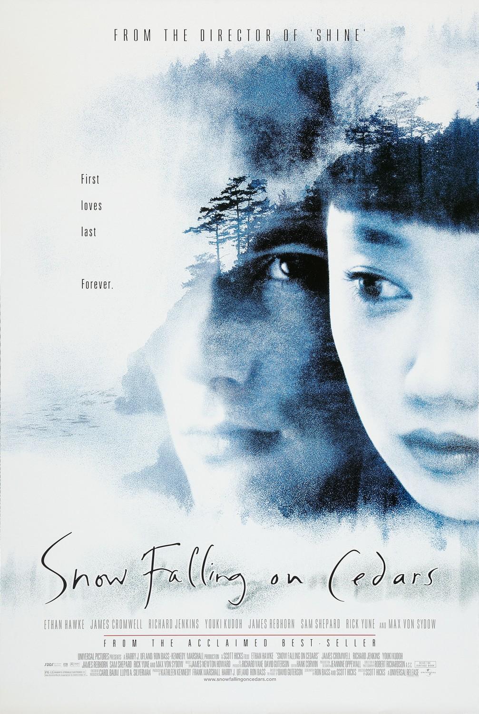 setting of snow falling on cedars