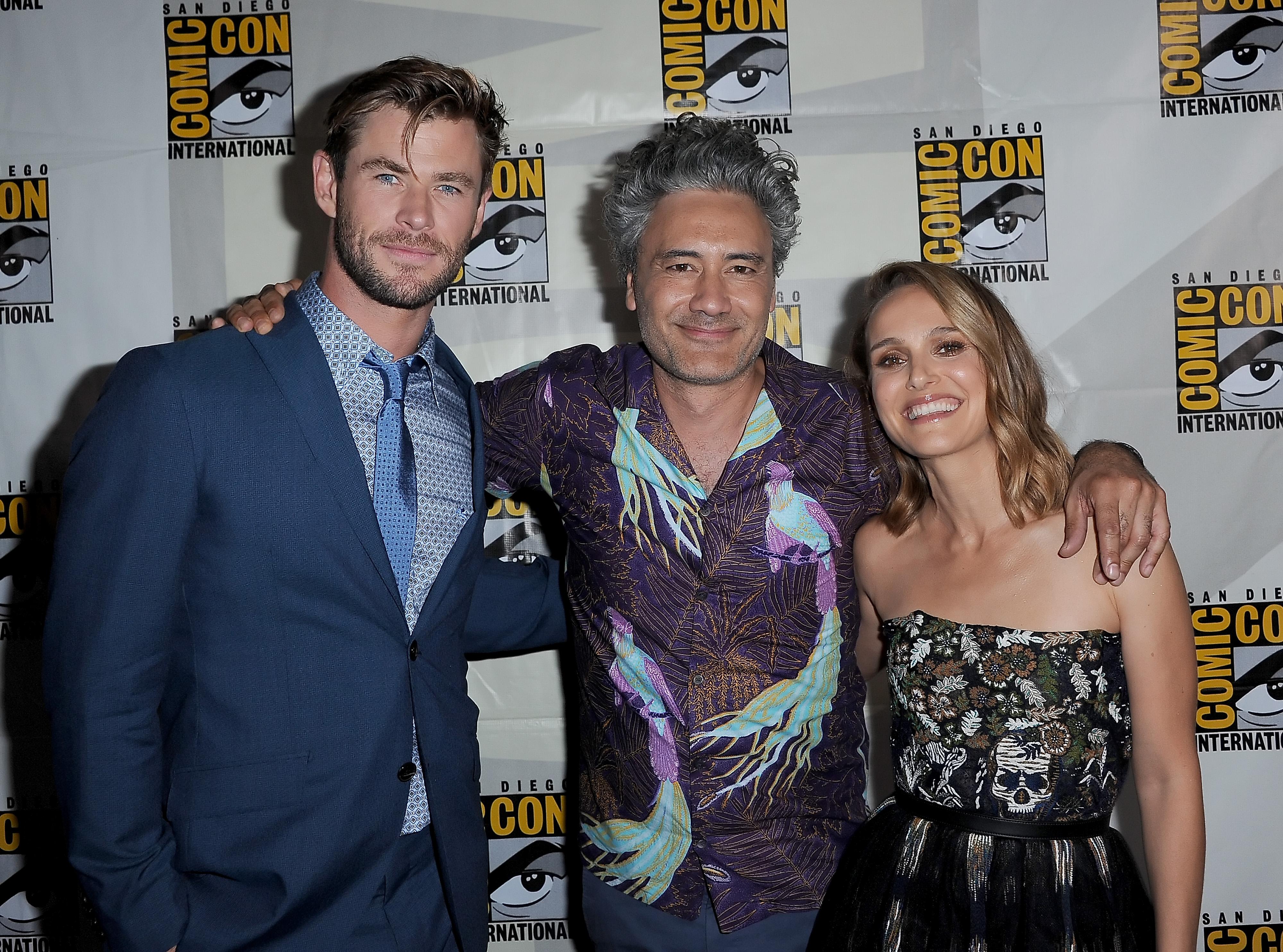 Natalie Portman, Taika Waititi, and Chris Hemsworth