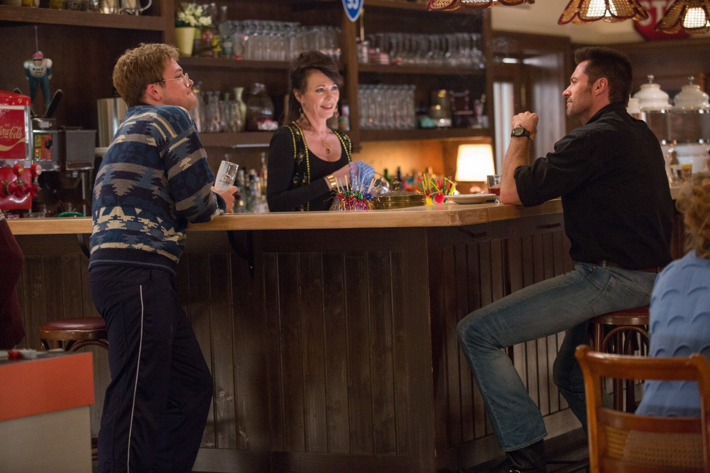 Iris Berben, Hugh Jackman, and Taron Egerton in Eddie the Eagle (2015)