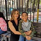 Still of Ja' Siah Young and Mariska Hargitay while filming law and order SVU season 21 episode 5 midnight in Manhattan