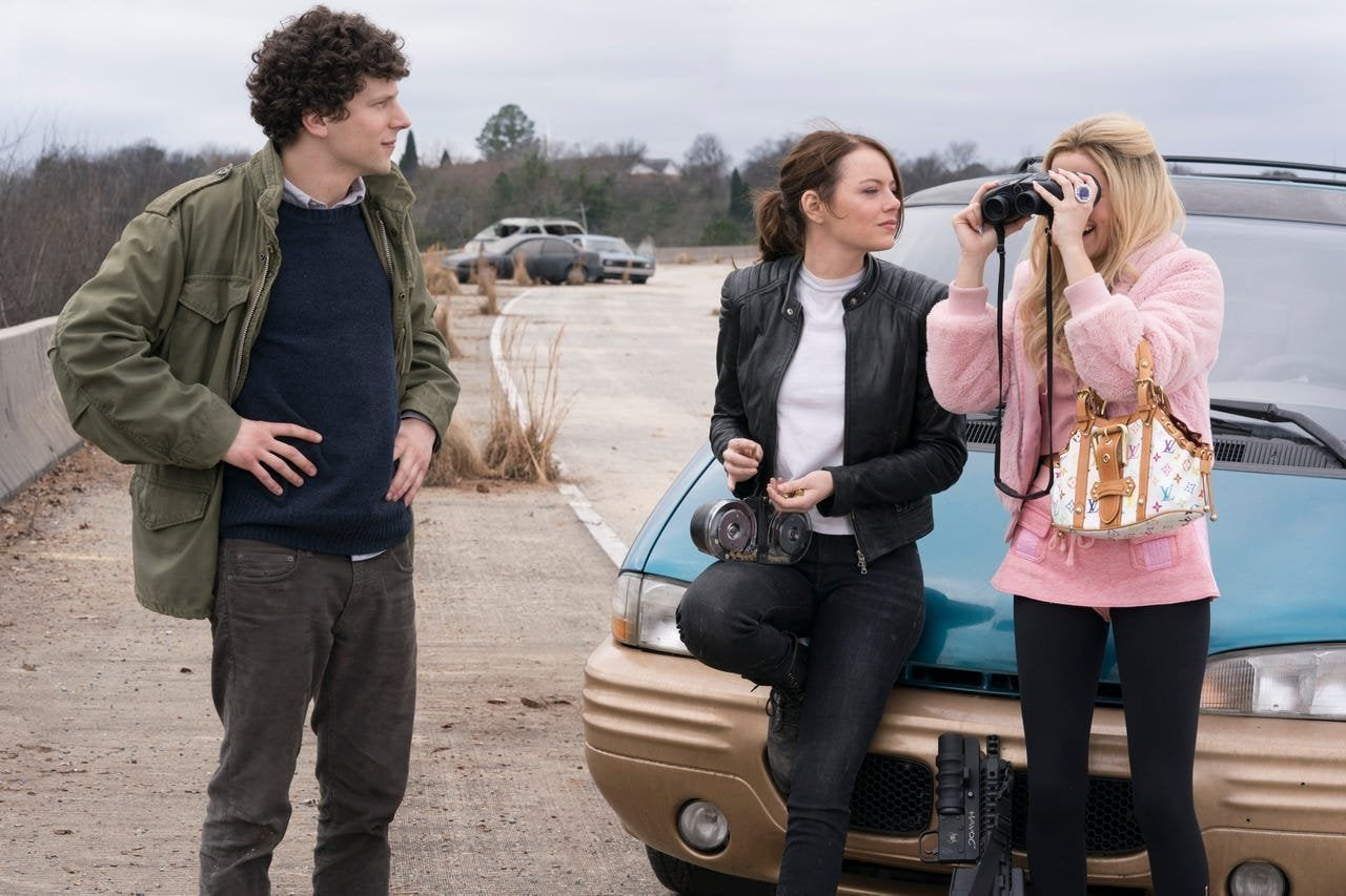 Jesse Eisenberg, Emma Stone, and Zoey Deutch in Zombieland: Double Tap (2019)
