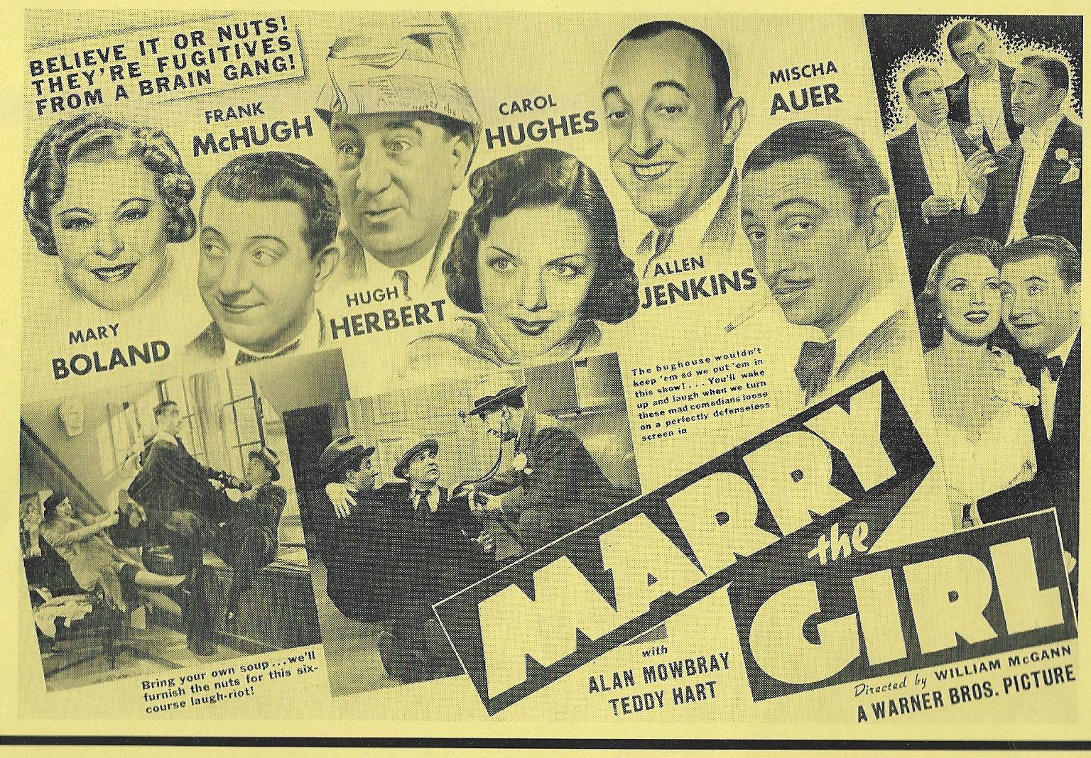 Hugh Herbert, Mischa Auer, Mary Boland, Teddy Hart, Carol Hughes, Allen Jenkins, Frank McHugh, and Alan Mowbray in Marry the Girl (1937)