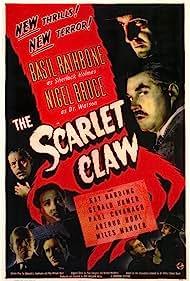 Basil Rathbone, Nigel Bruce, Paul Cavanagh, Gerald Hamer, Kay Harding, and Arthur Hohl in The Scarlet Claw (1944)