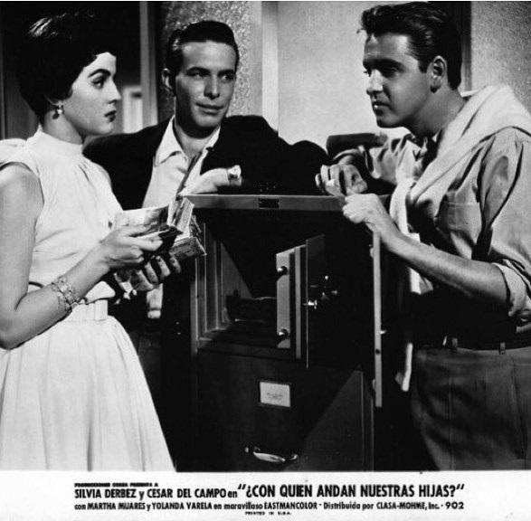Raúl Farell, Álvaro Ortiz, and Yolanda Varela in Con quién andan nuestras hijas (1956)