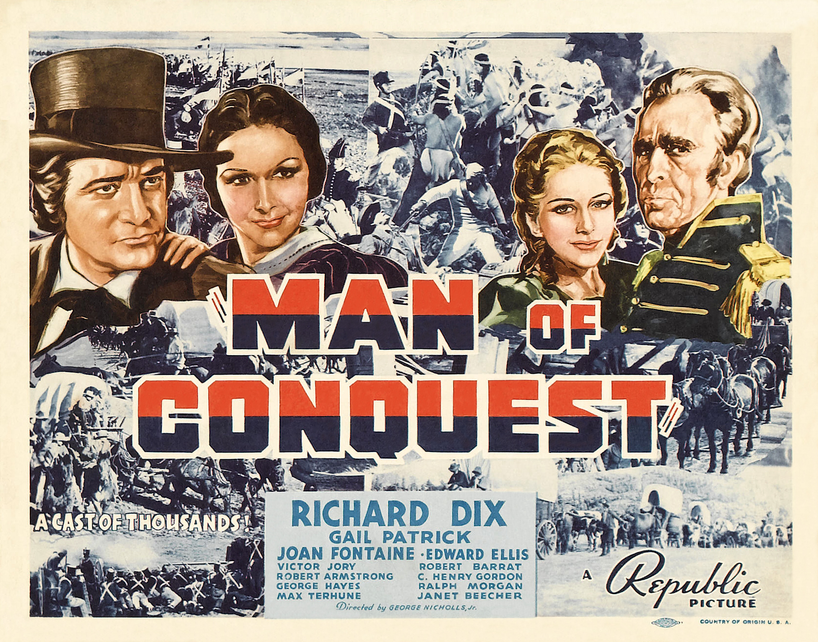 Joan Fontaine, Richard Dix, Edward Ellis, and Gail Patrick in Man of Conquest (1939)