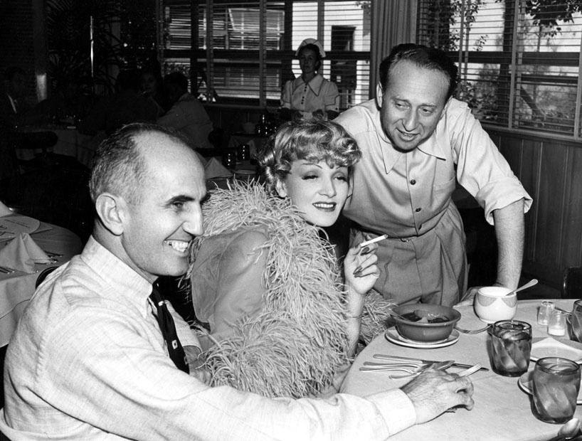 Marlene Dietrich, George Marshall, and Joe Pasternak in Destry Rides Again (1939)