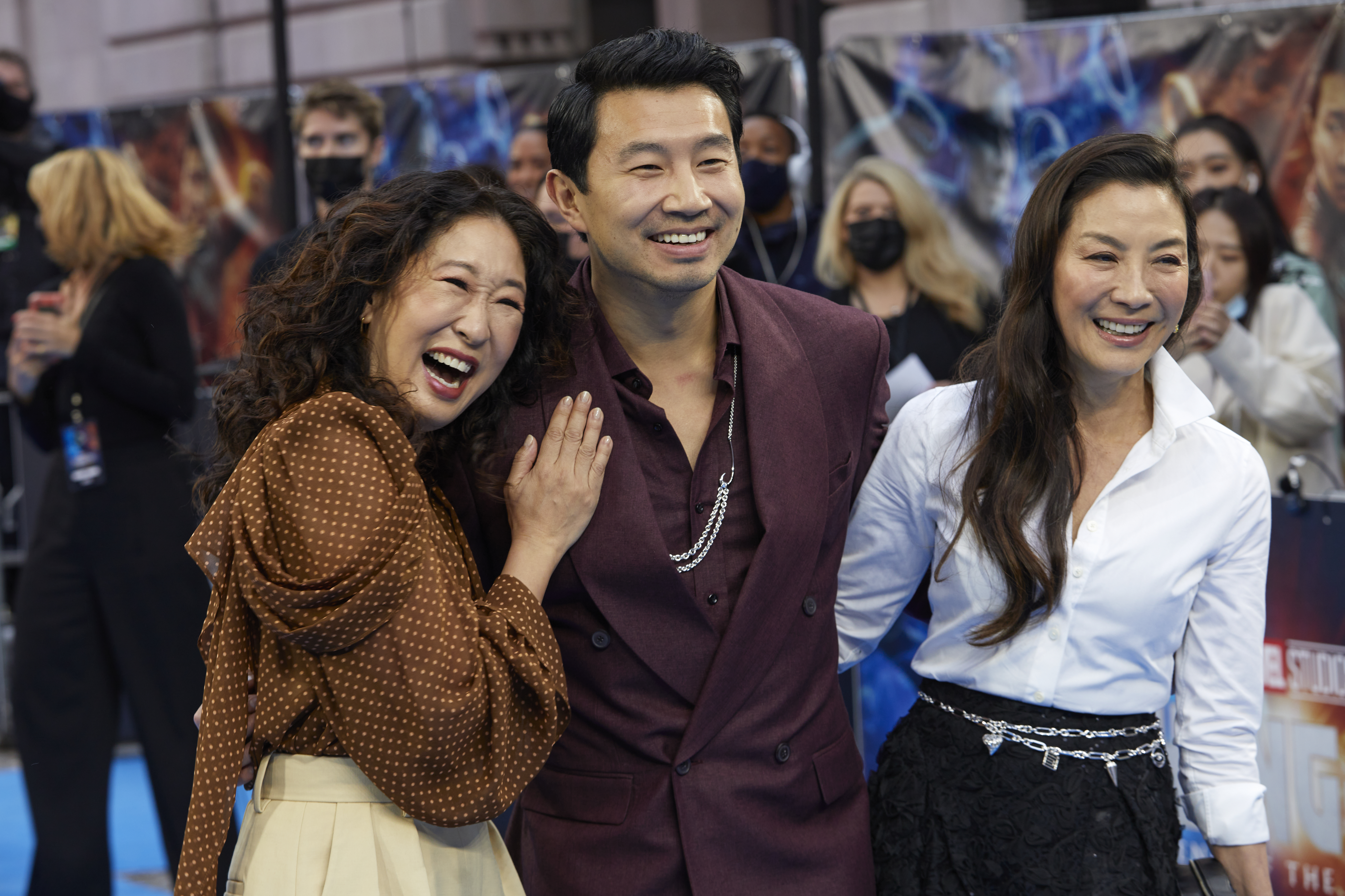 Michelle Yeoh, Sandra Oh, and Simu Liu at an event for Shang-Chi and the Legend of the Ten Rings (2021)