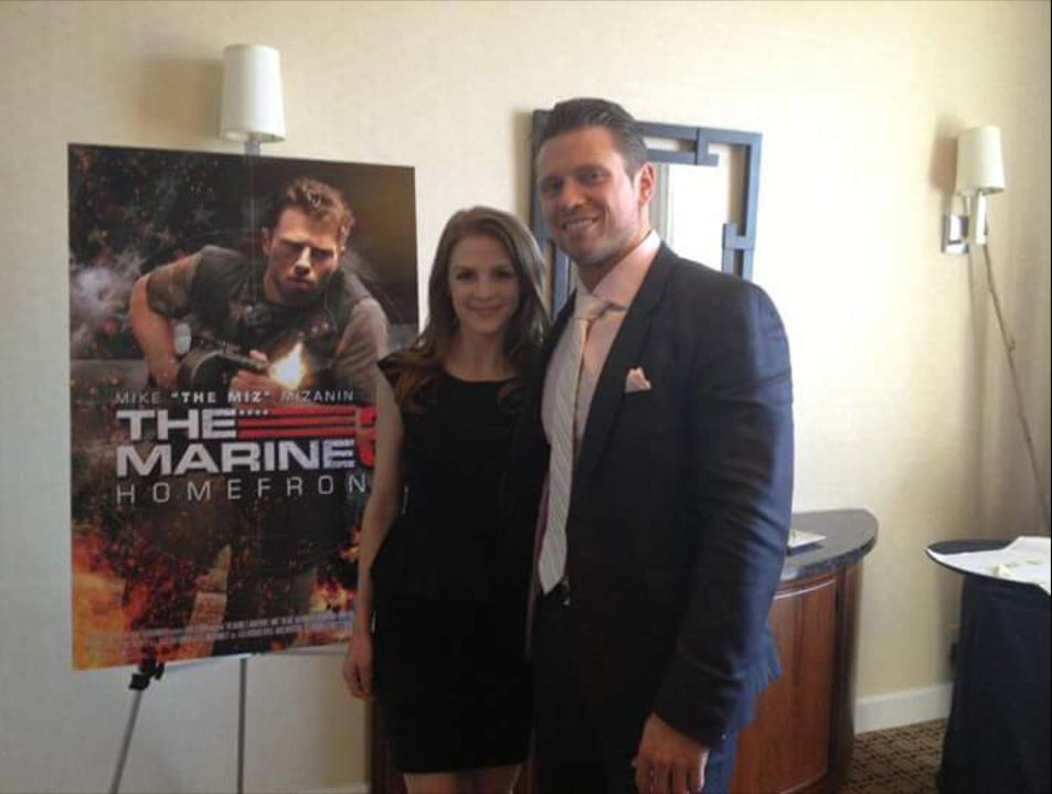 Ashley Bell and Mike 'The Miz' Mizanin at an event for The Marine 3: Homefront (2013)