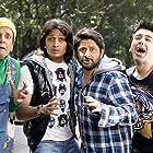 Javed Jaffrey, Arshad Warsi, Aashish Chaudhary, and Riteish Deshmukh in Dhamaal (2007)