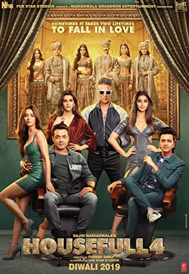 Poster of Housefull 4 2019 Full Hindi Free Download Watch Online In HD Movie Download 1080p HDRip