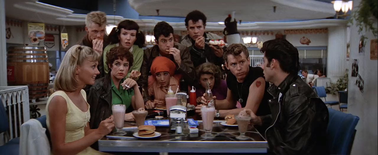 John Travolta, Stockard Channing, Olivia Newton-John, Jeff Conaway, Dinah Manoff, Didi Conn, Jamie Donnelly, Barry Pearl, Michael Tucci, and Kelly Ward in Grease (1978)