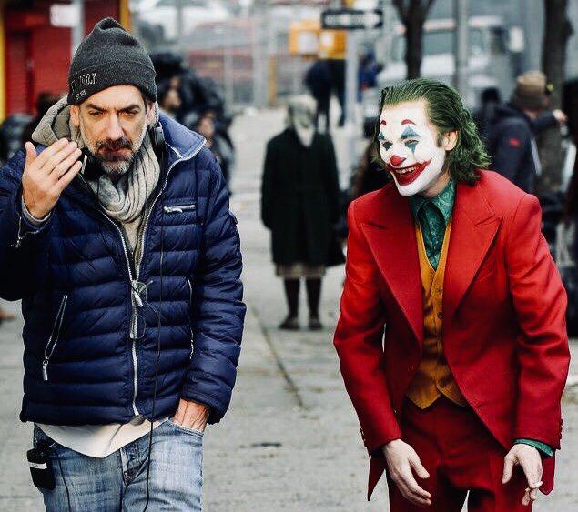 Joaquin Phoenix and Todd Phillips in Joker 2019