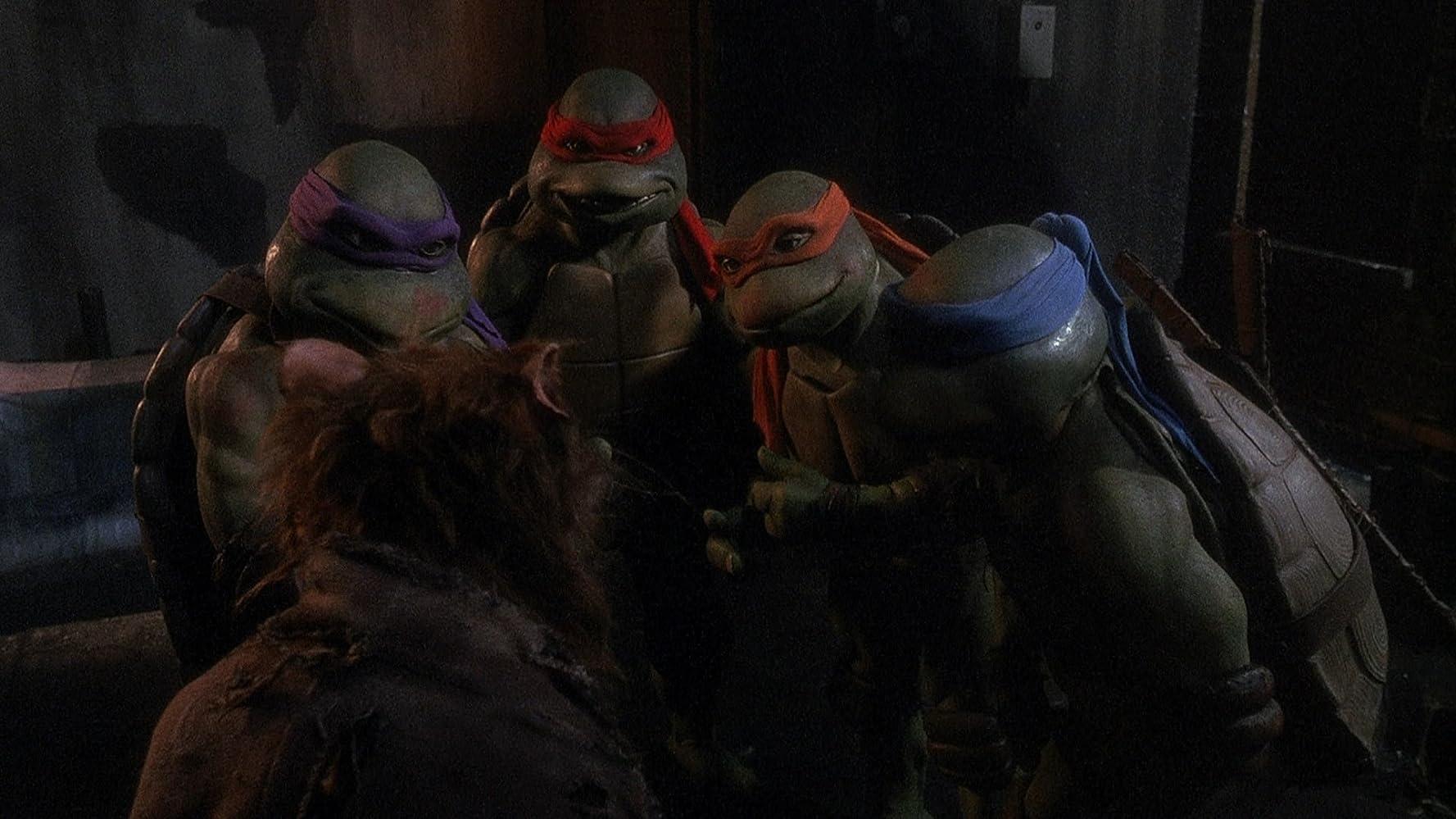 Kevin Clash, David Forman, Josh Pais, Michelan Sisti, and Leif Tilden in Teenage Mutant Ninja Turtles (1990)
