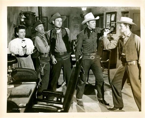 Roy Barcroft, Myron Healey, Martha Hyer, Allan Lane, Eddy Waller, and Clifton Young in Salt Lake Raiders (1950)