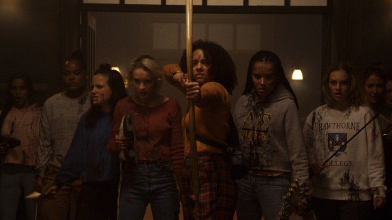 Lucy Currey, Zoë Robins, Brittany O'Grady, Lily Donoghue, and Aleyse Shannon in Black Christmas (2019)