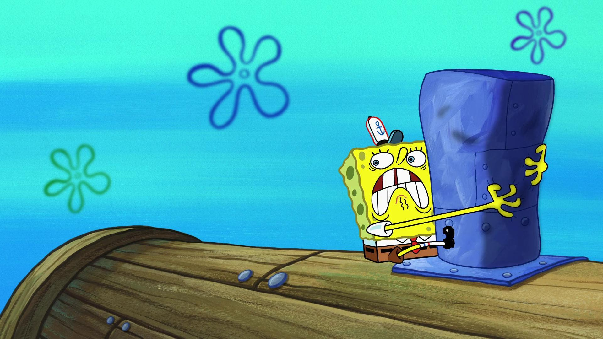 spongebob stuck on the roof full