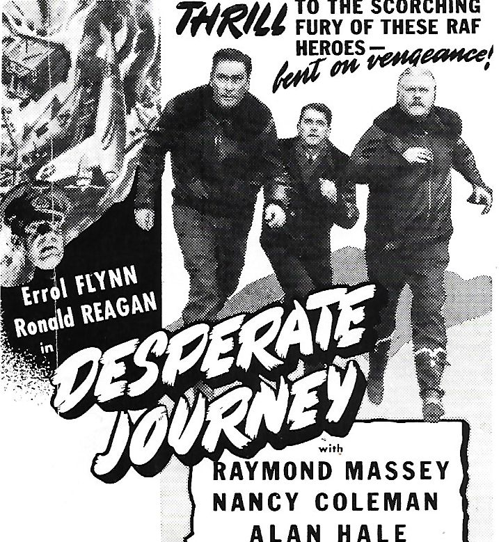 Errol Flynn, Ronald Reagan, Alan Hale, and Raymond Massey in Desperate Journey (1942)