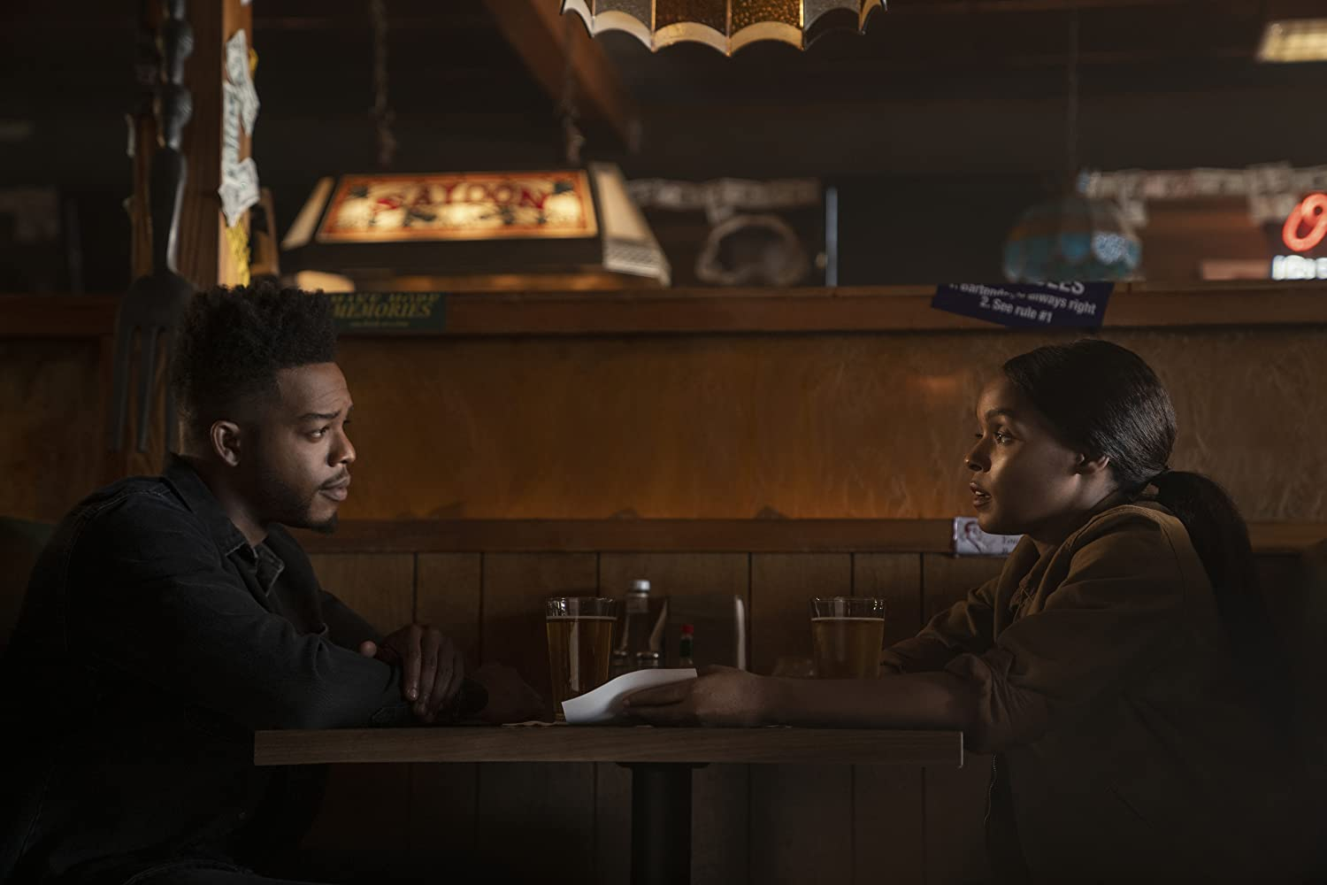 Janelle Monáe and Stephan James in Homecoming (2018)