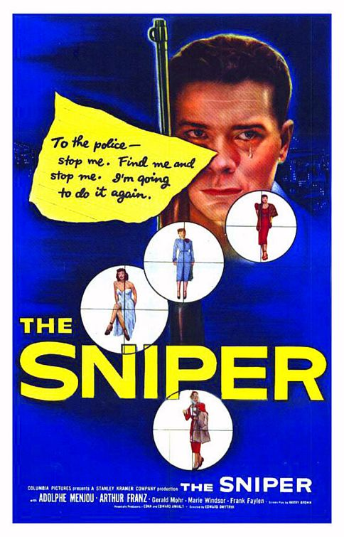 Geraldine Carr, Marlo Dwyer, Arthur Franz, and Marie Windsor in The Sniper (1952)
