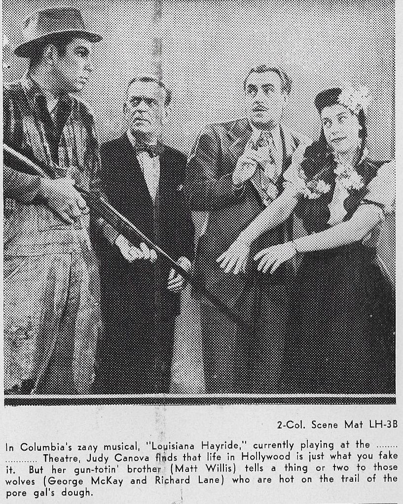 Judy Canova, Richard Lane, George McKay, and Matt Willis in Louisiana Hayride (1944)