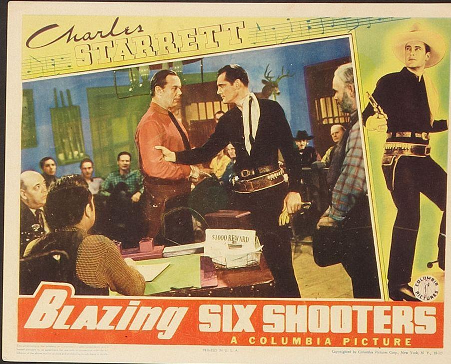 Pat Brady, Dick Curtis, Jack Evans, and Charles Starrett in Blazing Six Shooters (1940)