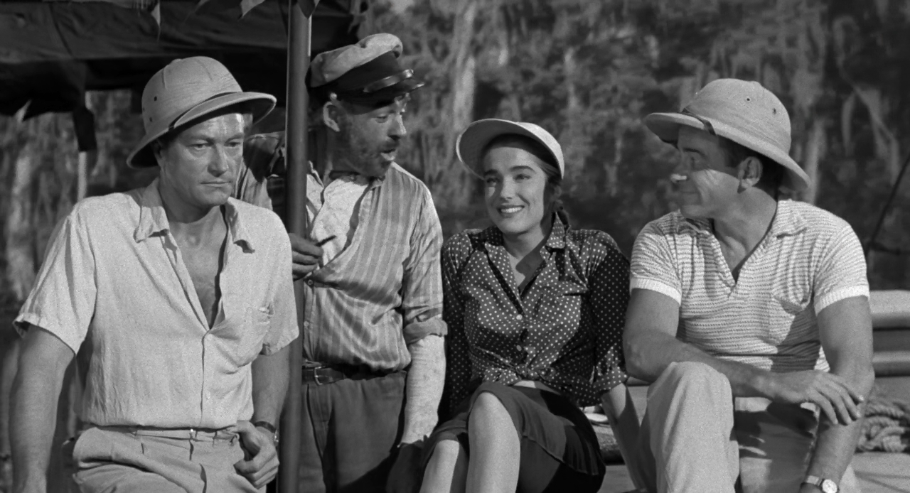 Julie Adams, Richard Carlson, Richard Denning, and Nestor Paiva in Creature from the Black Lagoon (1954)