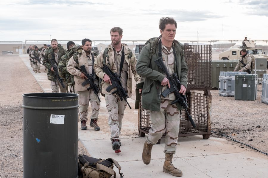 Michael Peña, Michael Shannon, Chris Hemsworth, and Trevante Rhodes in 12 Strong (2018)