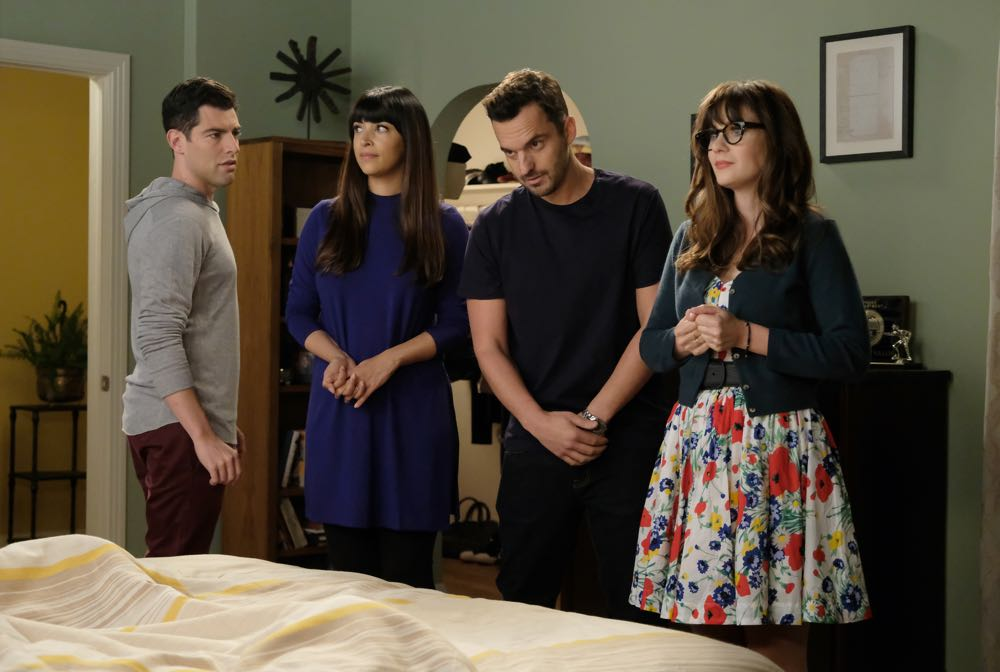 Zooey Deschanel, Max Greenfield, Hannah Simone, and Jake Johnson in New Girl (2011)