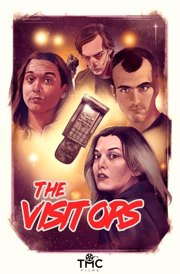 Nick Patch, Jason K. Wixom, Cameron Harford, Miranda Denmon, Ben Alyk, Joshua Heinze, and Lorenzo Silva in The Visitors (2017)