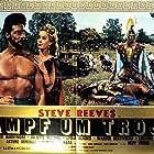Juliette Mayniel, Steve Reeves, and Edy Vessel in La guerra di Troia (1961)