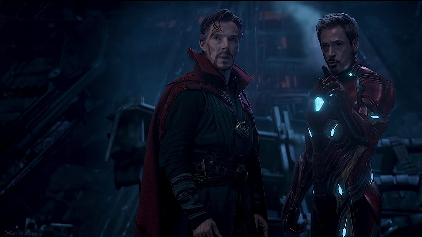 Robert Downey Jr. and Benedict Cumberbatch in Avengers: Infinity War (2018)