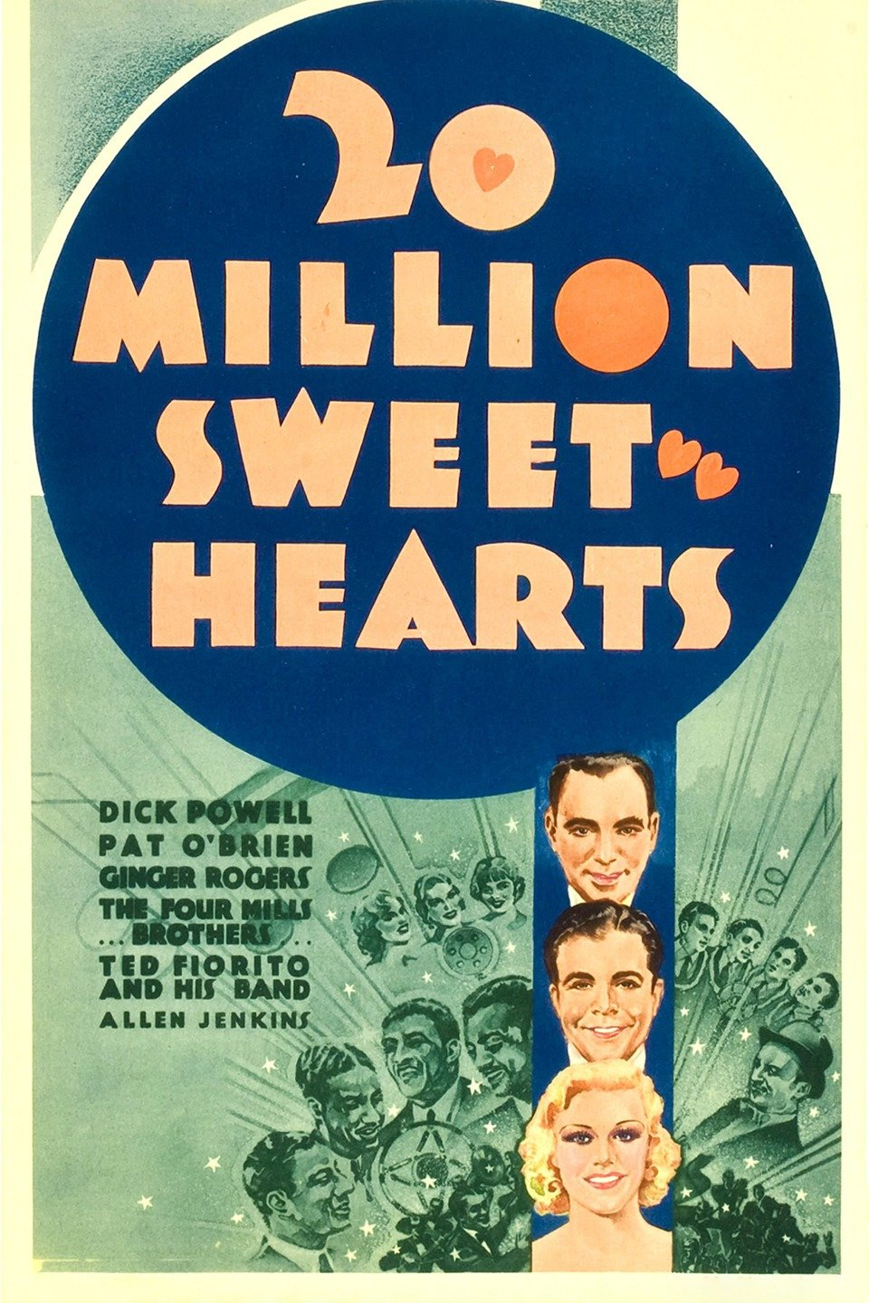 Ginger Rogers, Pat O'Brien, Allen Jenkins, Dick Powell, and The Mills Brothers in Twenty Million Sweethearts (1934)