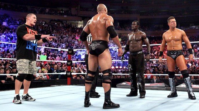 Dwayne Johnson, Ron Killings, Mike 'The Miz' Mizanin, and John Cena in Survivor Series (2011)