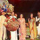 Hema Malini, Nandamuri Balakrishna, Shriya Saran, Chirantan Bhatt, and Radha Krishna Jagarlamudi at an event for Gautamiputra Satakarni (2017)