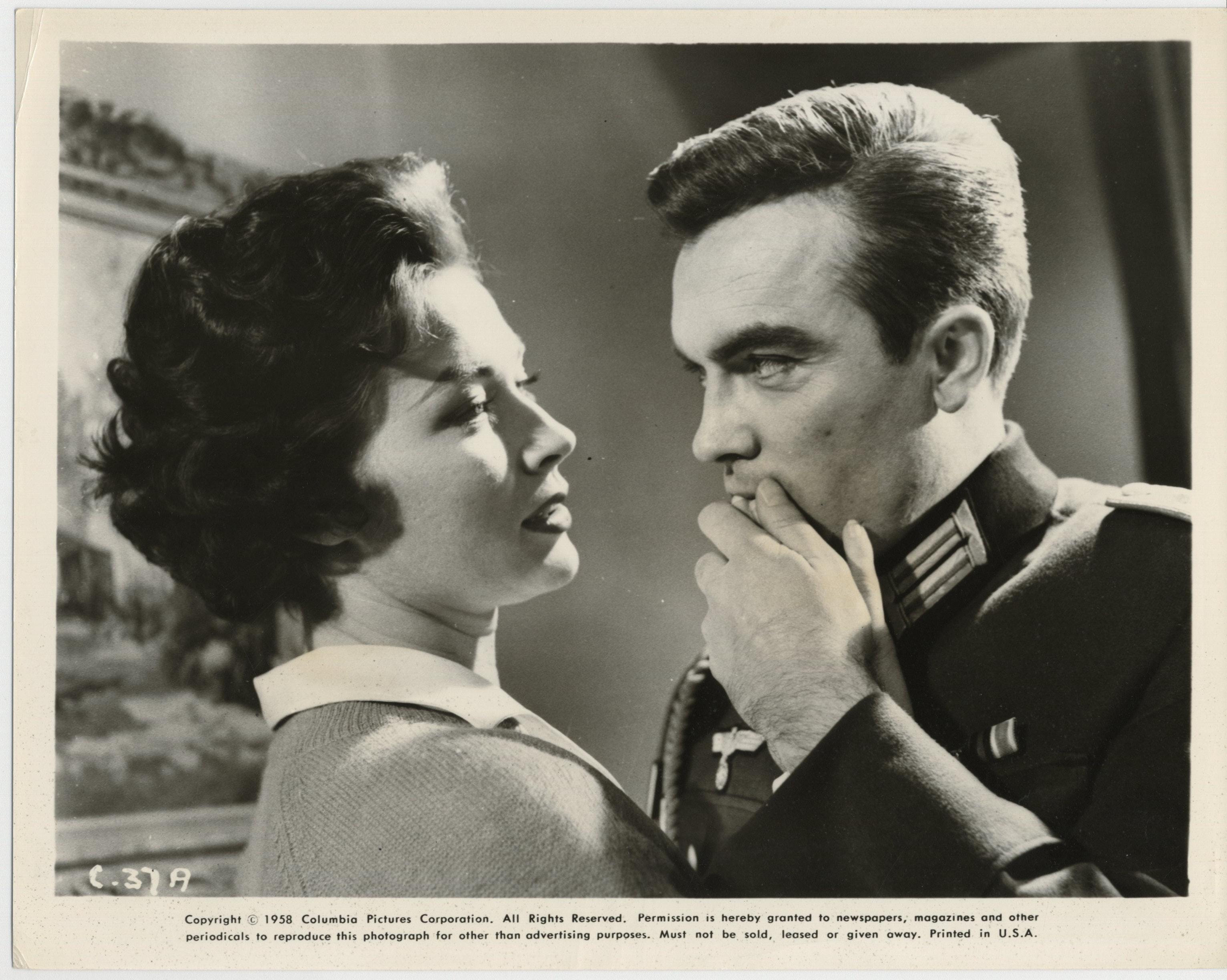 Gia Scala and Erik Schumann in The Two-Headed Spy (1958)