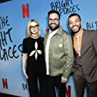 Elle Fanning, Brett Haley, and Justice Smith at an event for All the Bright Places (2020)