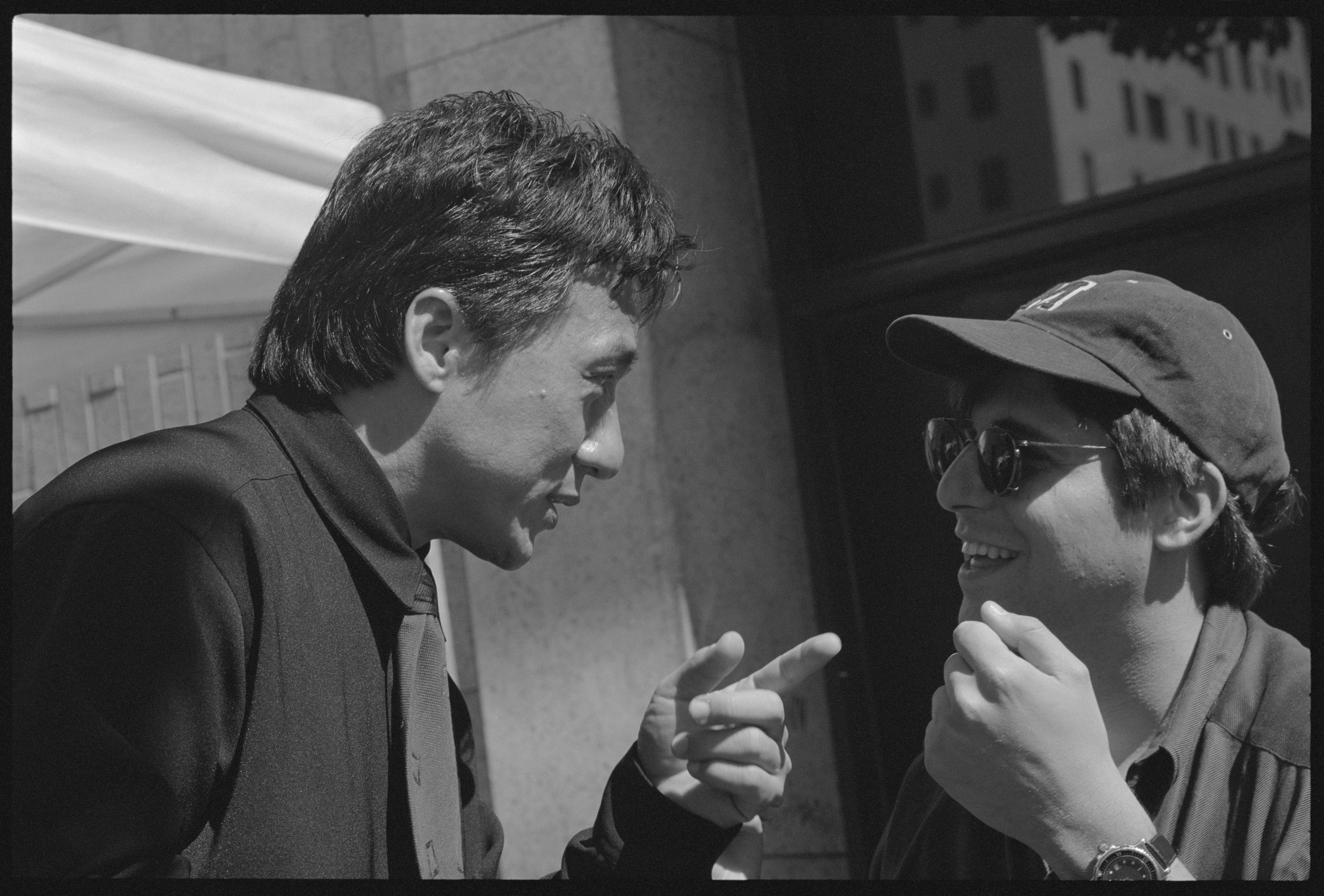 "Jackie Chan and Producer Jonathan Glickman on set of ""Rush Hour"", Hollywood, 1998"