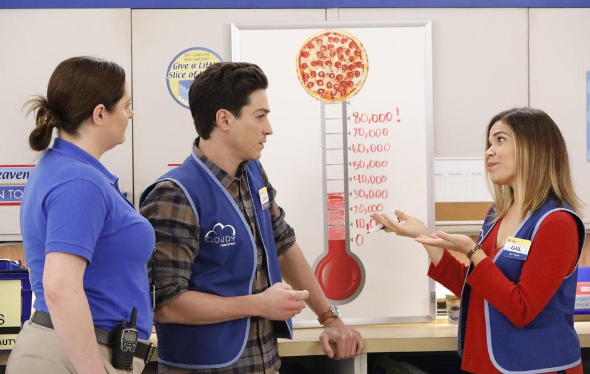 America Ferrera, Ben Feldman, and Lauren Ash in Superstore (2015)