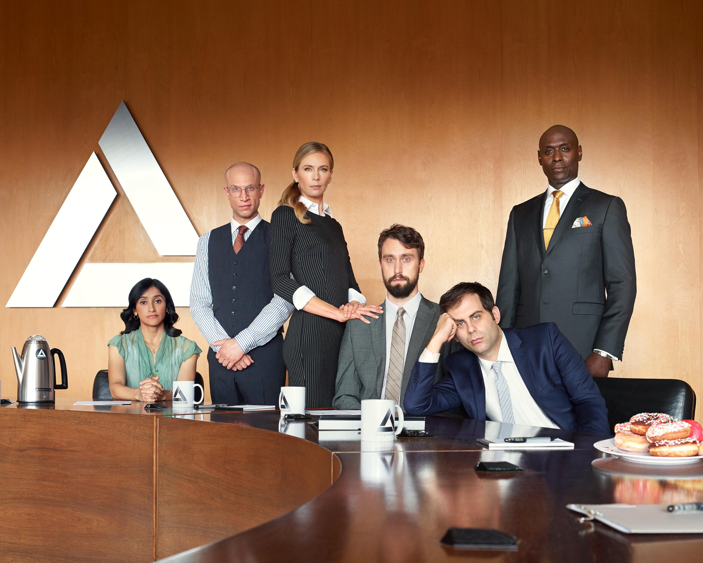 Anne Dudek, Lance Reddick, Adam Lustick, Matt Ingebretson, Jake Weisman, and Aparna Nancherla in Corporate (2018)