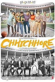 Prateik, Shraddha Kapoor, Tahir Raj Bhasin, Sushant Singh Rajput, Naveen Polishetty, Varun Sharma, Saharsh Kumar Shukla, and Tushar Pandey in Chhichhore (2019)