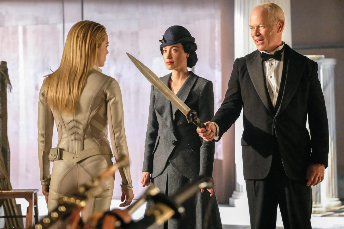 Neal McDonough, Courtney Ford, and Caity Lotz in Legends of Tomorrow (2016)