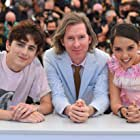 Wes Anderson, Timothée Chalamet, and Lyna Khoudri at an event for The French Dispatch (2021)