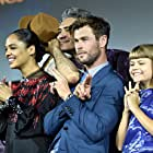 Taika Waititi, Chris Hemsworth, Tessa Thompson, and Lia McHugh at an event for Thor: Love and Thunder (2022)
