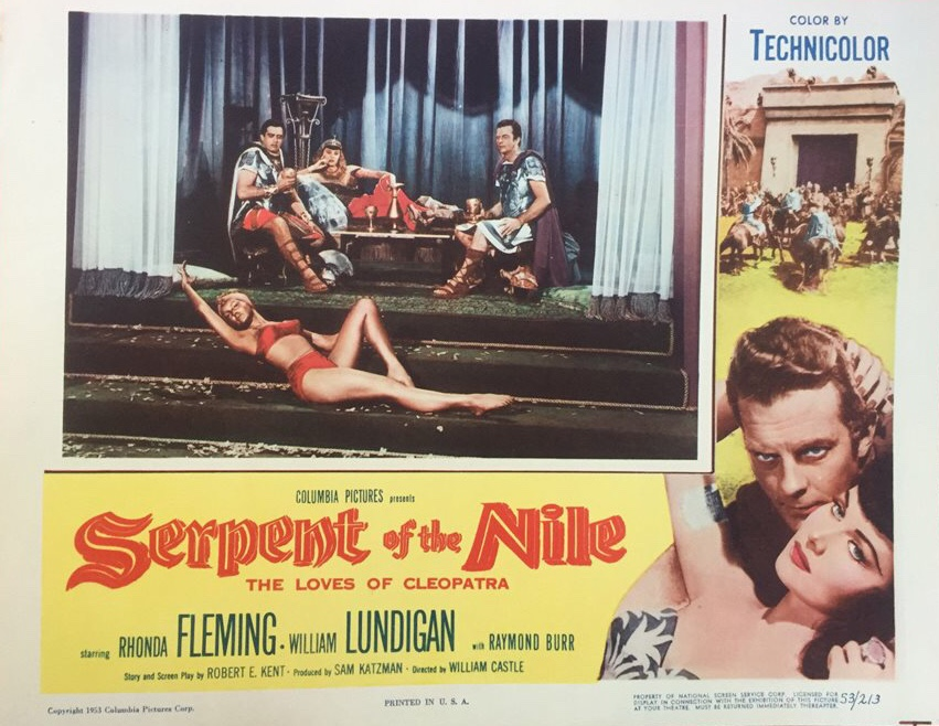 Raymond Burr, Rhonda Fleming, William Lundigan, and Julie Newmar in Serpent of the Nile (1953)