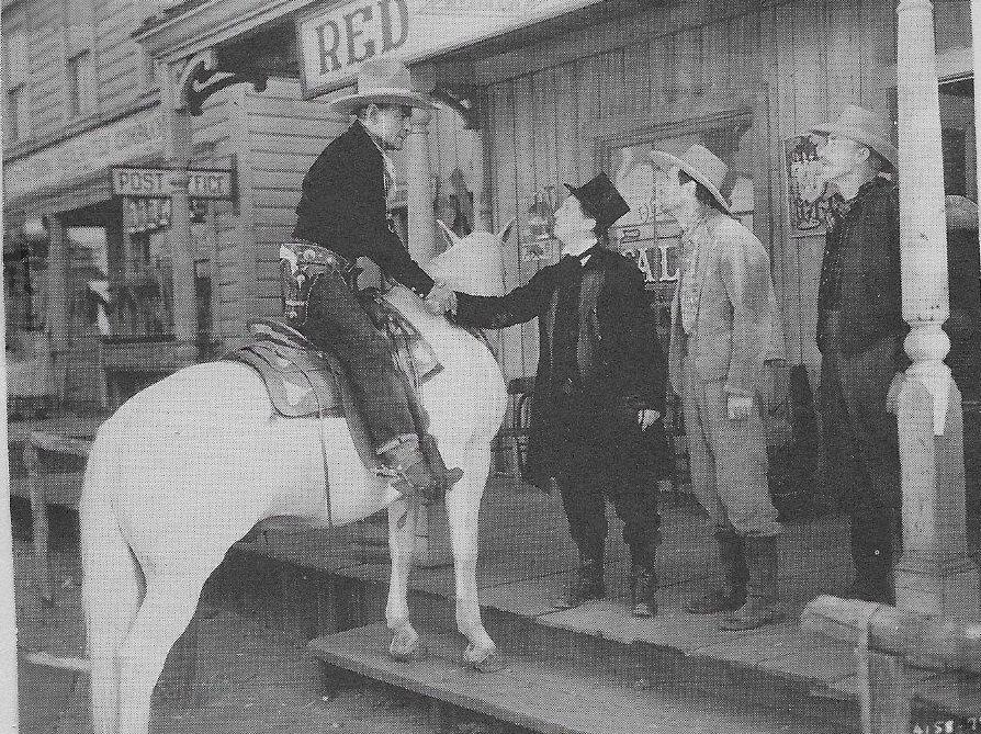 Raymond Hatton, Warren Jackson, Buck Jones, and Silver in West of the Law (1942)