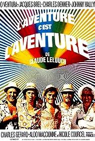 Jacques Brel, Charles Denner, Charles Gérard, Aldo Maccione, and Lino Ventura in L'aventure, c'est l'aventure (1972)